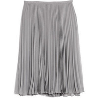 Halston Heritage Grey Pliss Knee Length Skirt - Polyvore
