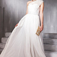 White Jewelled Wedding Dress With Asymmetrical Strap