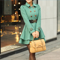Women Fruit green Princess OL Wool coat Cashmere winter coat Hood cloak Hoodie cape Hooded Cape/clothing /jacket/dress s-xl