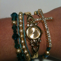 Set of 4 Watch and Arm Candy Bracelets  Turquoise, Teal and Gold Collection