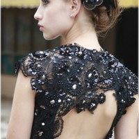 Black Beaded Embellishment Evening Dress by ElliotClaireLondon on Sense of Fashion