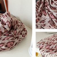 Pink leopard color  scarf. Long chiffon scarf. Accessories Scarf  Women rockabilly Chiffon shawl wrap scarf