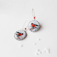 Winter Bird Bullfinch Earrings - Bird Jewelry -  christmas gifts for her