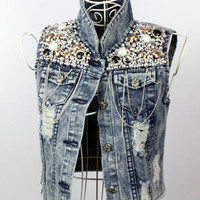 Pearls &amp; Chains Demin Vest