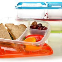 Amazon.com: EasyLunchboxes 3-compartment Bento Lunch Box Containers (Set of 4) BPA-Free. Easy-Open Lids (Not Leakproof): Home & Kitchen
