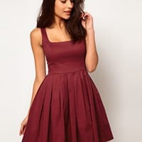 ASOS Skater Dress In Cotton Sateen With Square Neck at asos.com