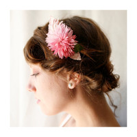 pink vintage flower comb &#x27;harper&#x27; by whichgoose on Etsy