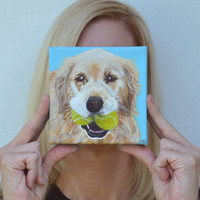Golden Retriever Pet Portrait Custom