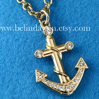 anchor necklace, golden sailor anchor necklace, Nautical Anchor, SALE
