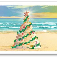 Beach Sand Castle Christmas Tree Boxed Christmas Cards | OceanStyles.com