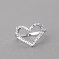 WHITE GOLD HEART RING CZ HEART RING ENGAGEMENT HEAT SHAPE RING HEART SHAPED by kellinsilver