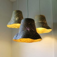 Basket Case - upcycled wicker basket hanging pendant lighting fixture - repurposed woven rattan plan