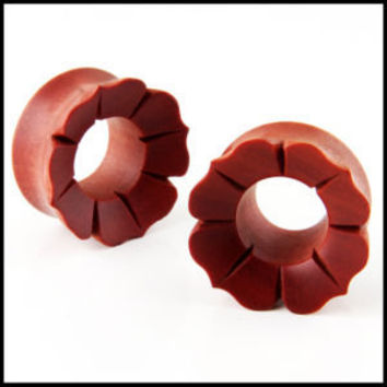 Pair Wood Organic Flower lotus Blossom ear Plugs Gauges
