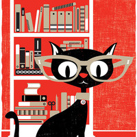 Screenprint Print Black Cat Lucky 13 Silkscreen Art Print Halloween Poster