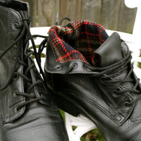 VTG black leather granny grunge boots size 7