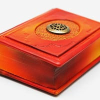 Orange leather journal antique style 4x6 inch (10x15 cm) in gift box