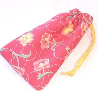 Reversible Drawstring Bag Soft Glasses Case Cell Phone Yellow Roses