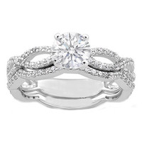 Engagement Ring - Vintage Style Round Diamond Infinity Swirl Engagement Ring and Matching Wedding Band 0.60 tcw. In 14K White Gold - ES337BS
