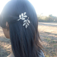 Leaf Bobby Pins - Silver Leaves Branches - Bridal Hair Accessories - Dramatic Statement - Elegant Romance Romantic Whimsical Dreamy Woodland
