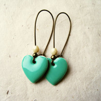 Pastel Mint Earrings Heart Earrings, Enamel Earrings, Mint Green Earrings on Brass Kidney Ear Wires. Heart Charm Earrings. Mint Jewelry.