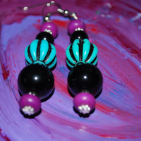 Purple Black and Turquoise Handmade Beaded Dangling earrings, Striped wooden earrings, womens accessories
