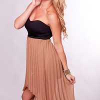 Tan and Black Strapless Hi-Lo Dress with Pleated Skirt