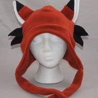 Fox with Whiskers Earflap with Ties Beanie by ForwardMotionArt