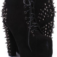 Black Faux Suede Ankle Boots with Spike Stud Embellishment