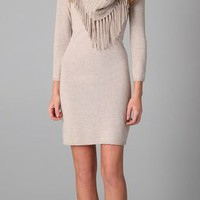 Alice + Olivia Fifi Sweater Dress with Fringed Scarf