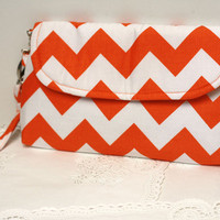 Tangerine Orange Chevron Clutch Purse with detachable wristlet strap