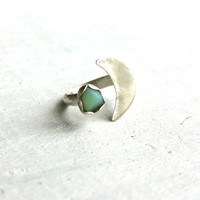 Sterling Silver Ring, Moon and Star - sea glass ring - sterling silver jewelry handmade .925 - size 4 1/2 (UK/AUS I 1/2)