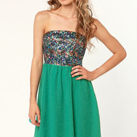 Teal Story Strapless Sequin Dress