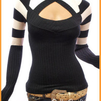 Stunning Strips Crew Neck Long Sleeve Sweater Knit Tops