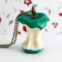 Who ate my apple green apple necklace by Sevinoma on Etsy