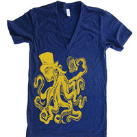 Mens Unisex Otto The Octopus Deep V Neck T Shirt - American Apparel Vneck Tshirt - XS S M L XL (15 Color Options)