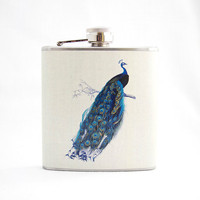 Hip Flask : Vintage Peacock Print, 6 oz Stainless Steel Flask, Beige Cream, Velour Bag Included