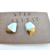 Mint &amp; Gold  Faceted Rock Earrings