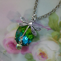 Dragonfly Pendant Silver Peridot Green Blue by ShadowMoonDesigns