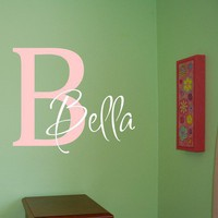 Bella Initial Vinyl Wall Decal by homesweetwalls on Etsy