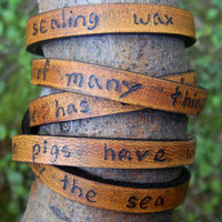 Ultra Long Hand Carved Custom Quote Leather Wrap Bracelet - with Alice in Wonderland Quote