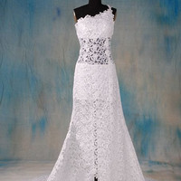 A-line One-Shoulder Sleeveless Chapel Train Satin Lace Wedding Dress Free Shipping