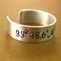 Latitude and Longitude Ring - Spiffing Jewelry