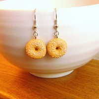 Food Earrings Bagel by SouZouCreations on Etsy