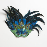 Large Green Mask with Blue Feathers