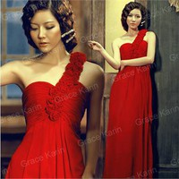 Luxury BEADED Macrame Bridesmaid Evening Dresses Prom Gown Long Dress New Red