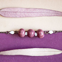 Burgundy &amp; White ceramic beaded Bracelet