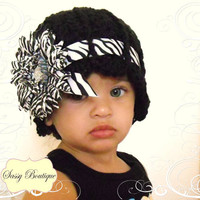 Zebra Daisey Scalloped Beanie by SassyBoutiqueByAmber on Etsy