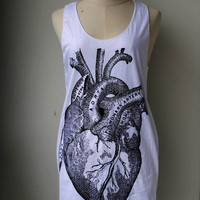 Heart Anatomy Tank Top - women tank top, women tshirt,Tunic Unisex Shirt Vest Women Sleeveless Singlet Black T-Shirt Size M L