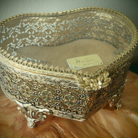Matson Jewelry Box 24 Karat Gold Plated Ornate Ormolu Filagree Heart Shaped / Vintage 50s Vanity by Feisty Farmers Wife