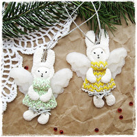 Christmas decor Fairy Bunnies - Angels - decor for the nursery - Free shipping